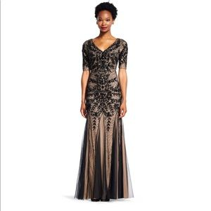 Floral Beaded Gown with Godets and Elbow Sleeves